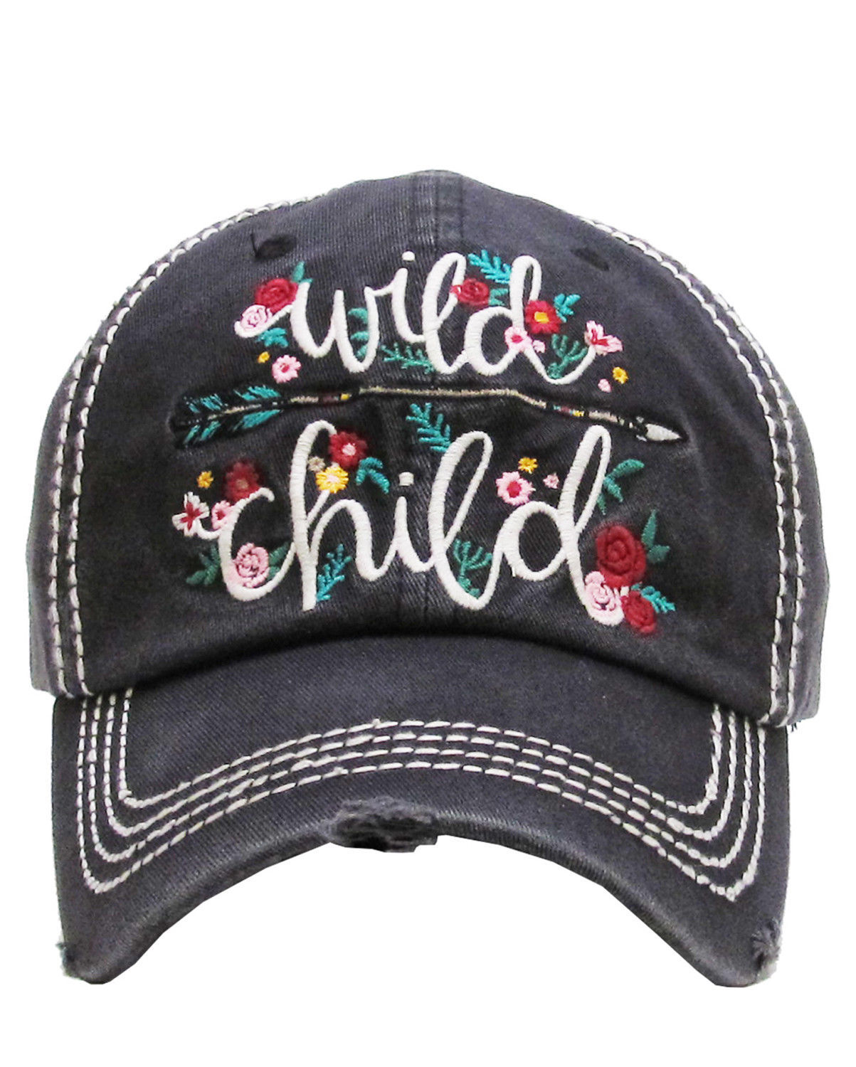 Distressed Embroidered Wild Child Flower Baseball Hat Vintage Style