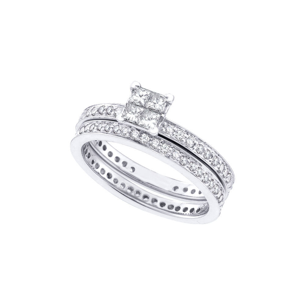 Eternity Ring Wedding Set: 14k White Gold Princess Diamond Eternity Bridal Wedding