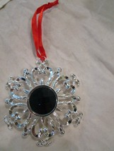Lenox Bejeweled Snowflake Christmas Ornament Silverplate Sapphire Brand New in B - $14.99