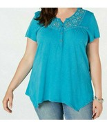 Style&Co Women's Tile Water Embroidered Split Neck Top Plus Size 3X NWT - $32.13