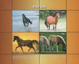 Horses Running Landscape Beach Souvenir Sheet of 4 Stamps Mint NH - $15.06