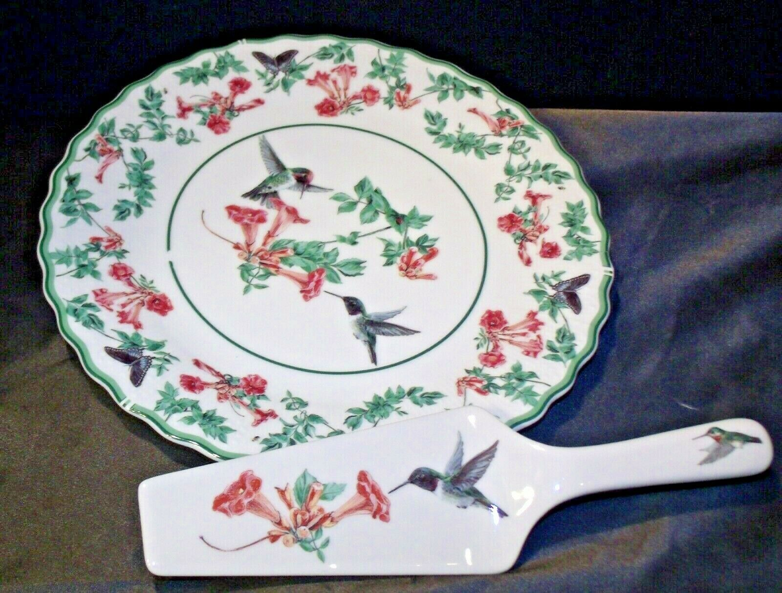 Porcelain National Wildlife Federation Hummingbird Platter & Server Andrea by Sa