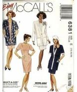 McCall's 6381 Misses' Jacket & Dress Size 14,16,18 - $1.75