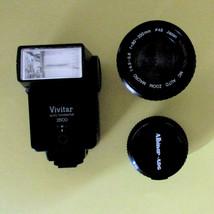 Vintage Camera Lenses: 80-200mm,  50mm and a  Vivitar Flash.  R142 - $64.35