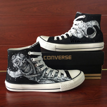 Black Canvas Shoes Hand Painted Converse Design Spaceman Astronaut Sneakers - $159.00