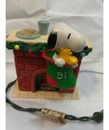 Hallmark UFS  1991 Peanuts Snoopy Woodstock  Flickering Mini Fireplace O... - $9.99