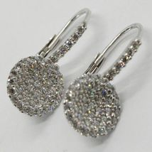 18K WHITE GOLD LEVERBACK EARRINGS, CIRCLE ZIRCONIA DISC LENGTH 20 MM, ITALY MADE image 3