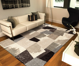 "5x8 (5'3"" x 7'6"") Modern Contemporary Abstract Shag Gray Black Plush Area Rug - $199.00"