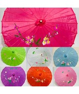 Chinese bamboo floral Umbrella, Wedding Dance Party Art Deco Painted -US... - $10.98