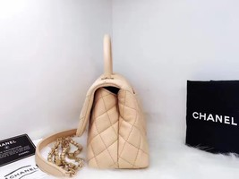 100% AUTHENTIC CHANEL 2017 CAVIAR QUILTED MINI COCO HANDLE FLAP BAG BEIGE GHW image 4