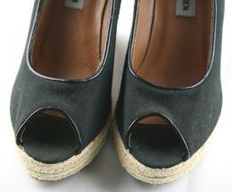 Steve Madden Peep Wedges Womens Size 6 Black Canvas Slip On High Heel Shoes image 3
