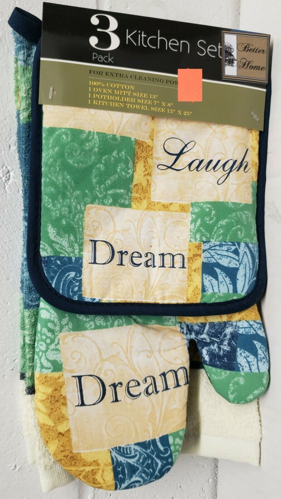 Primary image for 3 pc KITCHEN SET: 1 POT HOLDER, 1 TOWEL & 1 OVEN MITT, LIVE LAUGH DREAM, BH
