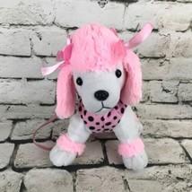 Poodle Plush Purse Pink Polka Dot Zipper Pouch Soft Toy Dog - $9.89