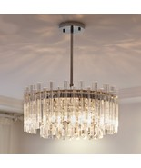 Modern Chandelier Lighting Led Crystal Lamps Round Chrome Hanging Light ... - $799.99