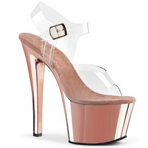 """Pleaser Sexy Exotic Dancing Rose Gold Clear Platforms 7"""" High Heel Shoes... - $59.95"""