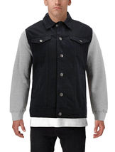 Men's Two Tone Jean And Grey Jersey with Removable Hood Denim Trucker Jacket image 13