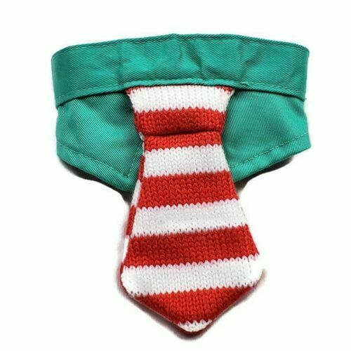 NEW Christmas Cat Collar with Tie Green Red Striped Holiday Pet Costume new
