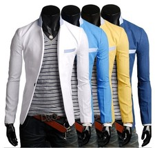 [Asia Size] New Men Casual Linen Blazer Mens Slim Fit Small Suit Foreign... - $56.10