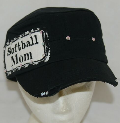 Pinky Bolle Brand Decorative Womans Hat Black Softball Mom Patch