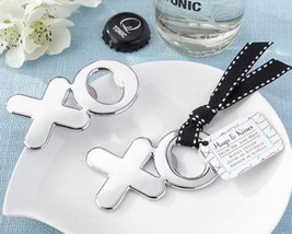 """Hugs & Kisses from Mr. & Mrs."" Chrome XO Bottle Openers Set of 12 - $31.68"