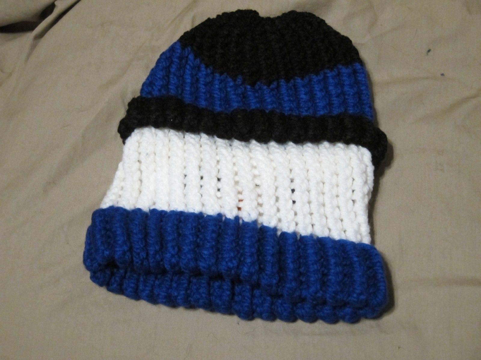 Handmade Knitted Blue Snowman Infant Winter Hat Cap CUTE