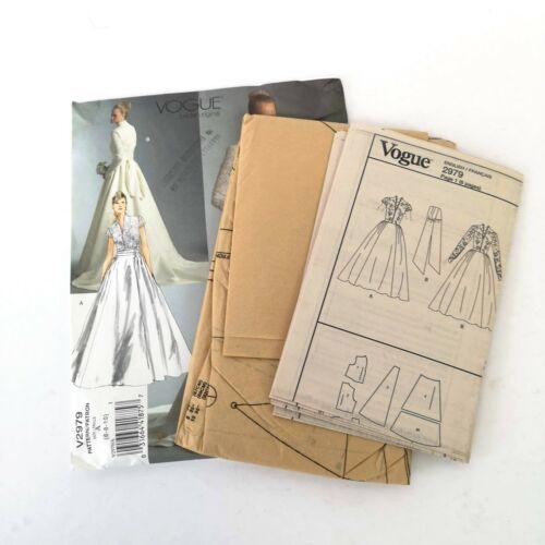 Vogue Bridal Pattern V2979 Siz 6 8 10 Wedding Dress Fitted Contrast Top 50s Look
