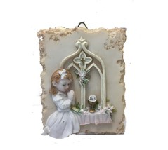Pink And White Hanging Decorative Ornament Of Little Girl Praying - $5.72