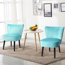Set of 2 Armless Upholstered Leisure Accent Chair-Turquoise - Color: Tur... - $337.42