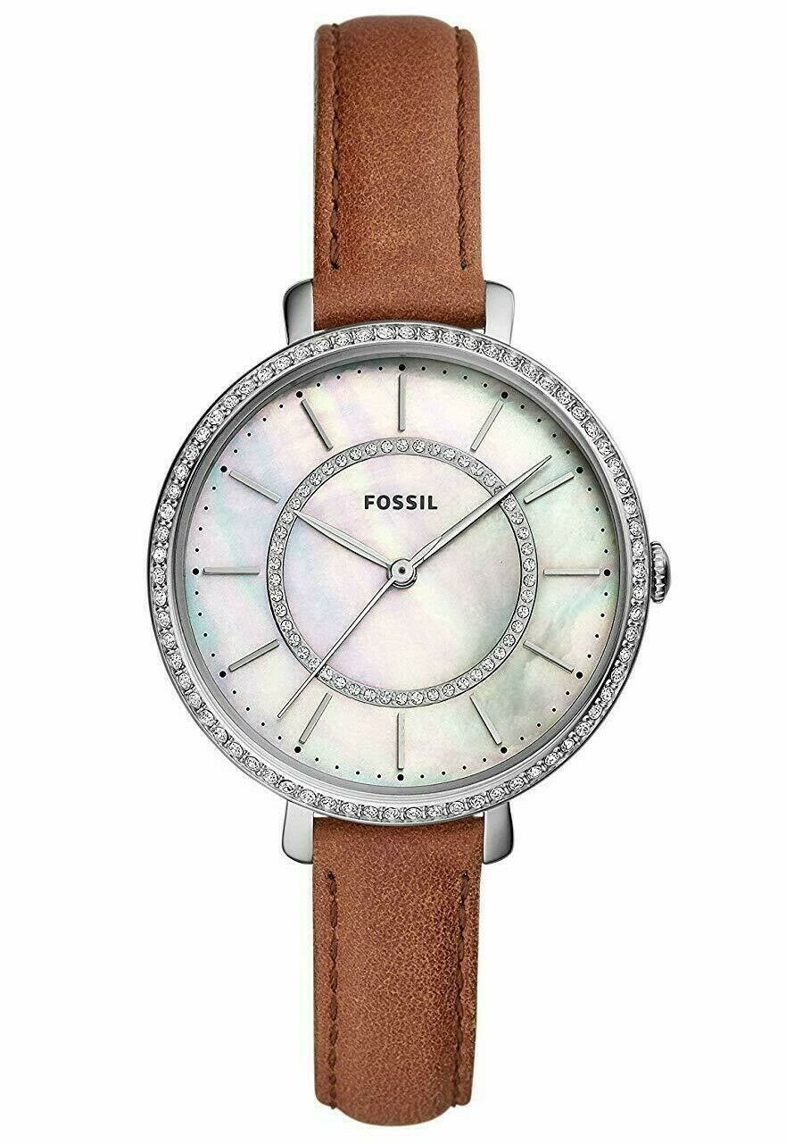 Primary image for NWT  Fossil ES4454 Jocelyn Three-Hand Brown Leather Band Pearl Crystals Watch