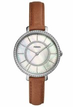 NWT  Fossil ES4454 Jocelyn Three-Hand Brown Leather Band Pearl Crystals ... - $67.00