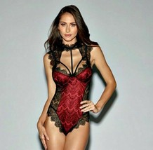EYELASH LACE TEDDY UNDERWIRE CUPS & CUT OUT THONG SNAP CROTCH  RED BLACK... - $28.41