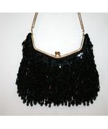 LA REGALE Hand Made Black Beaded Sequin Evening Bag        #1182 - $69.00