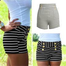 Summer Fashion Women Shorts Striped Shorts Outdoor High Elastic Waist Buttons De