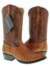 Mens Cognac Brown Genuine Crocodile Flank Leather Cowboy Boots Round Toe - £150.81 GBP