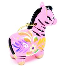 Handcrafted Painted Ceramic Pink Zebra Confetti Ornament Made in Peru image 5