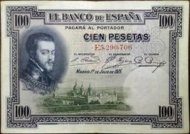 Spain banknote - 100 cien pesetas - year 1925 - King Philip II - free sh... - $6.58