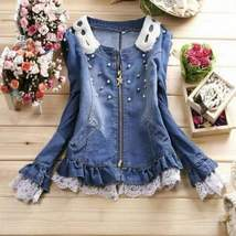 Lace Pearl Denim Jacket For Women - $42.00