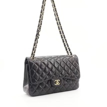 NEW AUTHENTIC CHANEL BLACK QUILTED LAMBSKIN JUMBO CLASSIC DOUBLE FLAP BAG GHW image 2