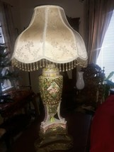 Large Antique Capodimonte Lamp Putti Cherubs Dolphin Base Signed Crown Italy - $391.05
