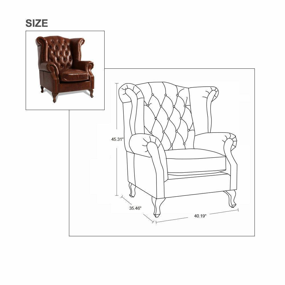 MarquessLife 100%Genunie Leather Handmade Tufted High Back Armchair Antique Sofa image 8