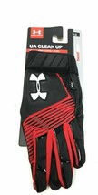 Under Armour Youth Large Batting Gloves Solid Black Red Baseball Clean Up Sports - $19.80