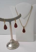 Signed Laurel Burch Set~Burgundy Tears of Joy~GP Necklace+Hook Pierced Earrings - $45.00