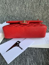 AUTH BNWT CHANEL 2019 RED CAVIAR QUILTED MEDIUM DOUBLE FLAP BAG GHW RECEIPT image 7