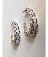 NEW John Hardy Modern Chain Sterling Silver w/ Blue Enamel Medium Hoop E... - $695.00