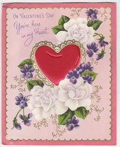 Vintage Valentine Card Red Puffy Heart Violets White Roses 1957 Norcross - $6.92