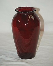 "Classic Style Hand Blown 9"" Ruby Red Flower Vase w Scalloped Edges Shelf... - $24.74"