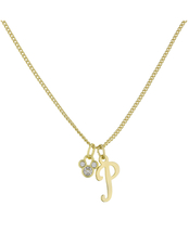 Disney Parks Mickey Mouse Faux Gem Icon Letter Initial P Necklace Gold Color - $28.90