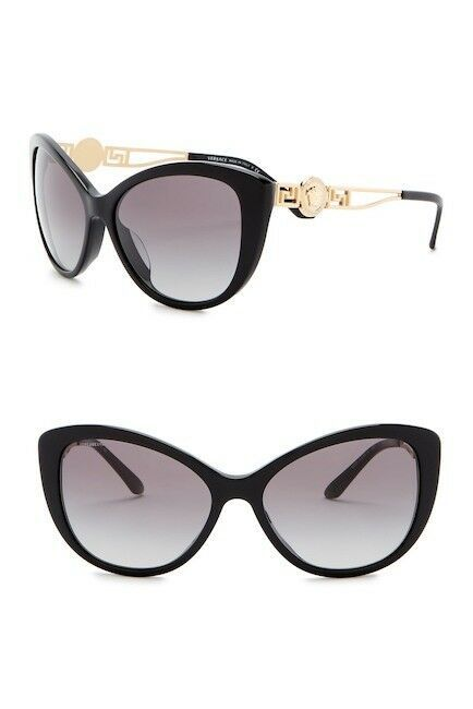 NEW VERSACE Rock Icons 57mm Cat Eye Sunglasses Black Gold VE4295