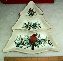 Lenox Christmas Serving Dish Tree Shaped Cardinal Bird Winter Holly Leaves - $33.65