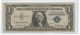 1957 $1 Dollar Silver Certificate Note - Blue Seal - Circulated - $8.95